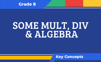 Grade 8 Key Concepts: Some Mult, Div & Algebra